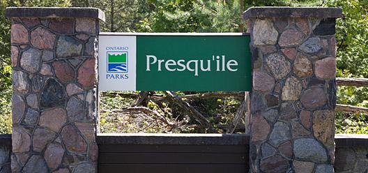 Presqu'ile Provincial Park Sign